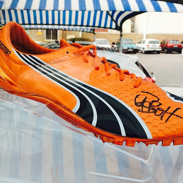 Awesome leaving gift from my Puma family... A @usainbolt signed spike for my new office