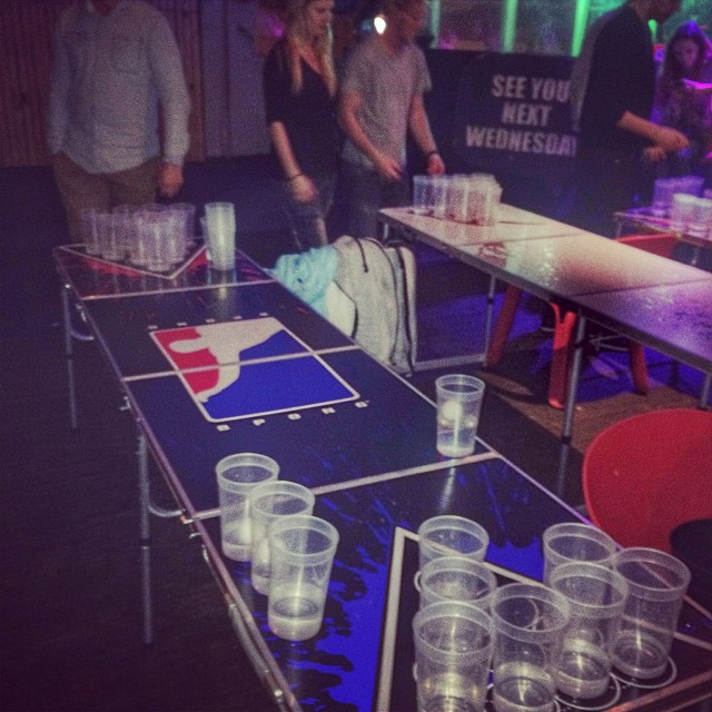 Raoul and I hustling at beer pong world champs.. Got money on the game...